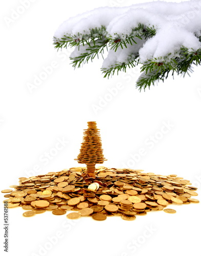 Golden tree of happiness for yours christmas time