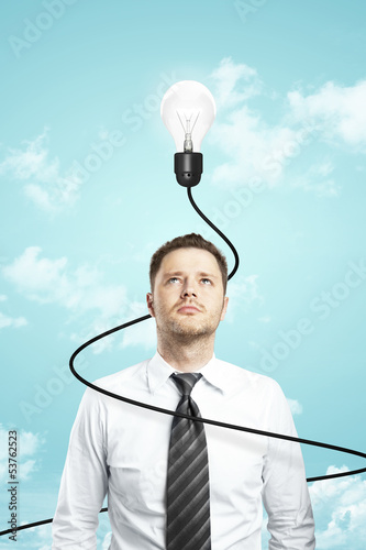 businessman and lamp