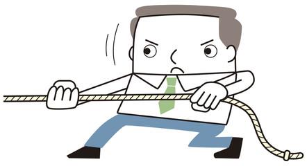 ロープを引っ張るビジネスマン