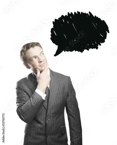 businessman with bubble speech