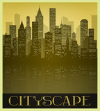 Metropolitan Cityscape in Sepia tones and Vintage Style poster