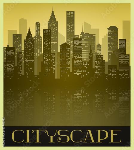 Metropolitan Cityscape in Sepia tones and Vintage Style