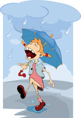 The girl in the rain. Cartoon