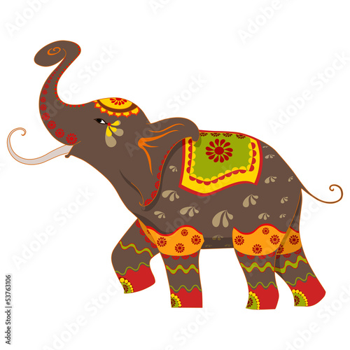 vector illustration of decorated elephant - 53763106