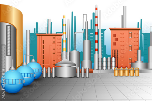 vector illustration of industrial plant with oil tanker