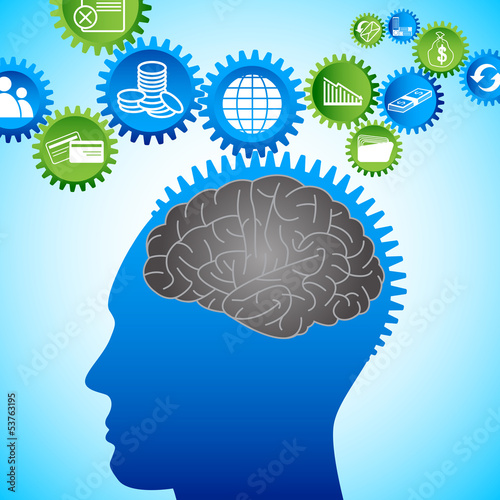 vector illustration of business icon coming out of human brain