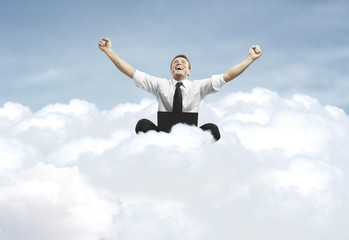 success of man sitting on a cloud
