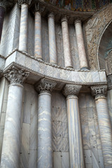 Venice -   columns in the portal of the cathedral of St. Mark