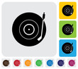 Old record player(turntable) symbol(icon)-minimalistic vector gr