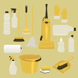 Set of Cleaning Supplies and Tools
