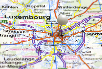 The City of Luxembourg on map with a white push pin