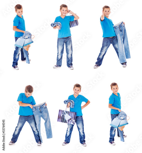 Boy with denim clothing