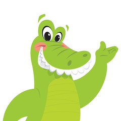 Happy cartoon crocodile presenting