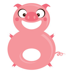 Number 8 funny cartoon smiling pig