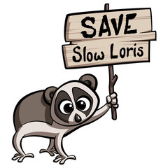 Save Slow Loris cartoon animal