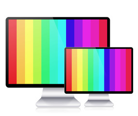 Vector computer display isolated on white background. Eps10