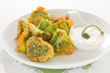 Appetizer of broccoli in the batter.