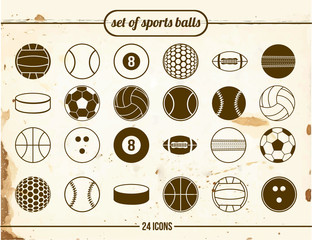 Vintage set of sports balls