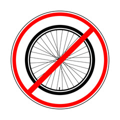 sign prohibiting bicycle wheel