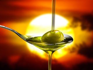 olio d'oliva al tramonto