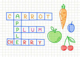 Fruit crossword puzzle on squared paper
