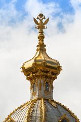 Closeup of golden cupola in Summer Gardens (Peterhof, Russia)