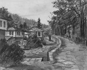 Pencil Drawing of Traditional Old Bulgarian Houses