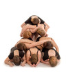 Pile of Dancers Bodies in Modern Pyramid Staircase