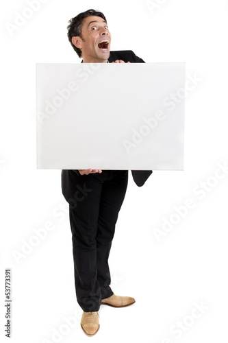 Businessman holding a blank white card