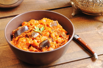 Zaalou, Moroccan salad with cooked aubergines and tomatoes