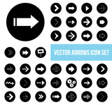 black white vector arrow icons set