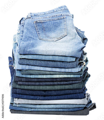 Isolated Jeans Stack
