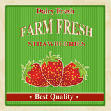 Vintage farm fresh strawberries poster