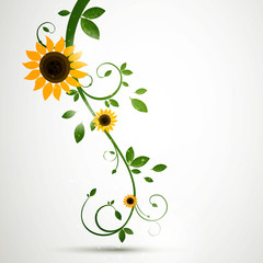 Vector Illustration of a Nature Background with Sunflowers