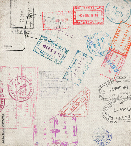 Travel background with different passport stamps