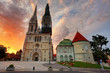 Zagreb Cathedral at sunrise. Croatia