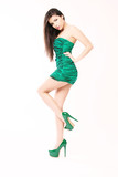Sensual girl with sexy green dress
