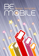 'Be Mobile' Design Template. Raised hands, holding mobile phones