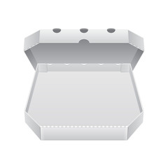 Open White Blank Carton Pizza Box. Ready For Your Design