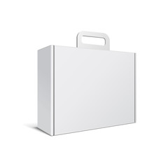 Carton Or Plastic White Blank Package Box With Handle.