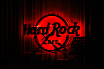 Red Glowing Hard Rock Cafe in Concert
