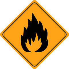 Fire warning sign isolated