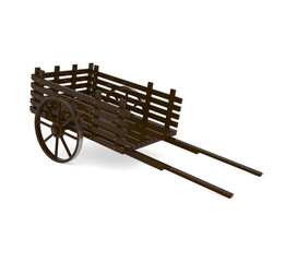 Wooden Pull Cart isolated on white