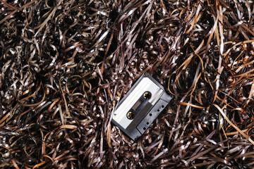 Vintage Audio Cassette on Magnetic Tape