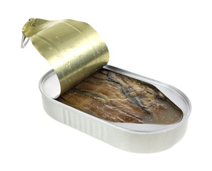 An opened tin of smoked herring fillets