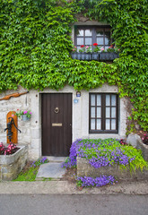 Traditional old porch with flowers and ivy. Belgium