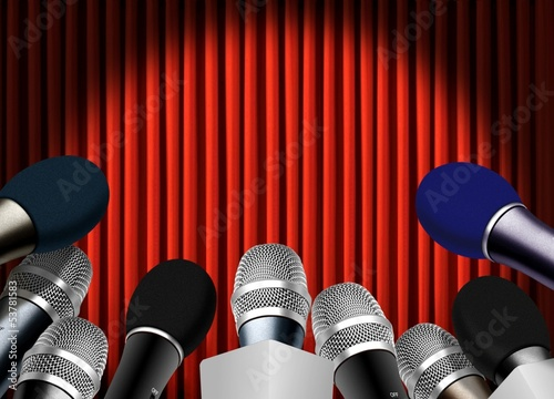 Press conference with microphone