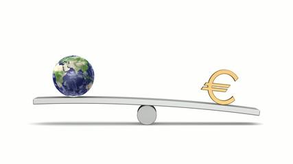 シーソーの上の地球とユーロ(Looping Animation)