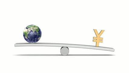 シーソーの上の地球と円(Looping Animation)