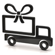 Illustration of black truck with big gift
